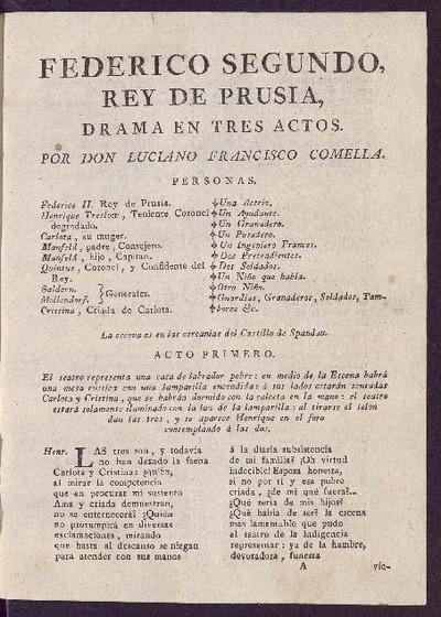 Federico Segundo, Rey de Prusia : drama en tres actos / por Don Luciano Francisco Comella