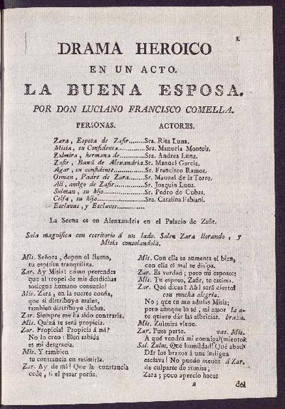 La buena esposa : drama heroico en un acto / por D. Luciano Francisco Comella