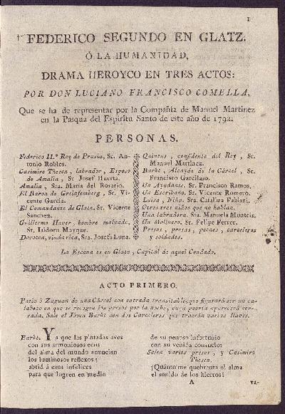Federico Segundo en Glatz o La humanidad : drama heroyco en tres actos / por D. Luciano Francisco Comella