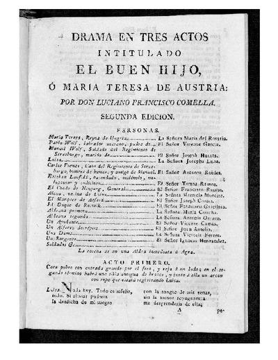 El Buen Hijo o María Teresa de Austria: Drama en tres actos intitulado / Por D. Luciano Francisco Comella