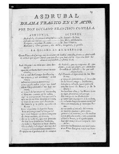 Asdrúbal : Drama trágico en un acto / Por D. Luciano Francisco Comella