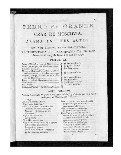 Pedro el Grande, Czar de Moscovia : Drama en tres actos / Por D. Luciano Francisco Comella