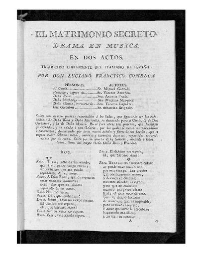 El Matrimonio secreto : Drama en música, en dos actos / Traducido libremente del italiano al español por D. Luciano Francisco Comella