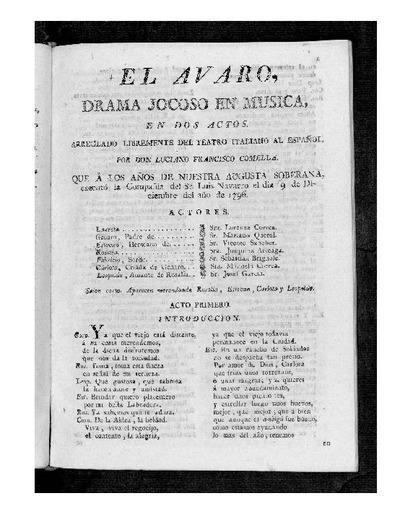 El Avaro : Drama jocoso en música, en dos actos / Arreglado libremente del teatro italiano al español por D. Luciano Francisco Comella