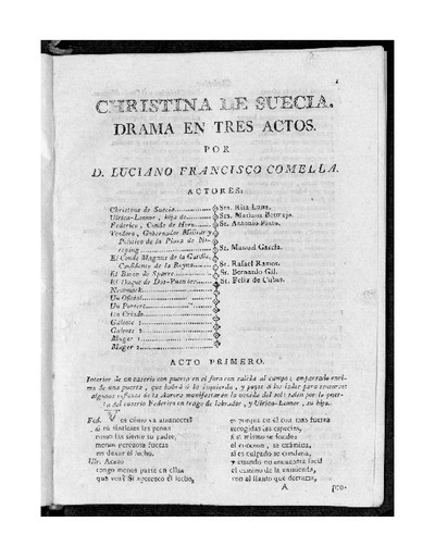 Christina de Suecia : Drama en tres actos / Por D. Luciano Francisco Comella
