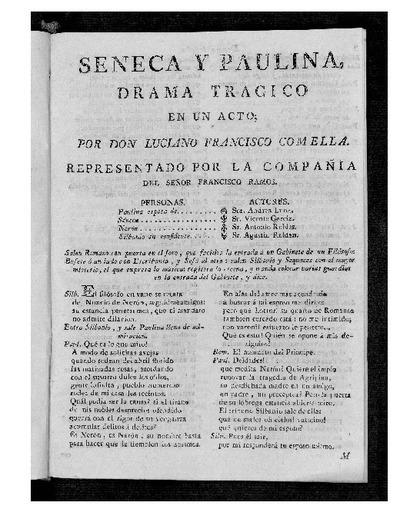 Séneca y Paulina : Drama trágico en un acto / Por D. Luciano Francisco Comella