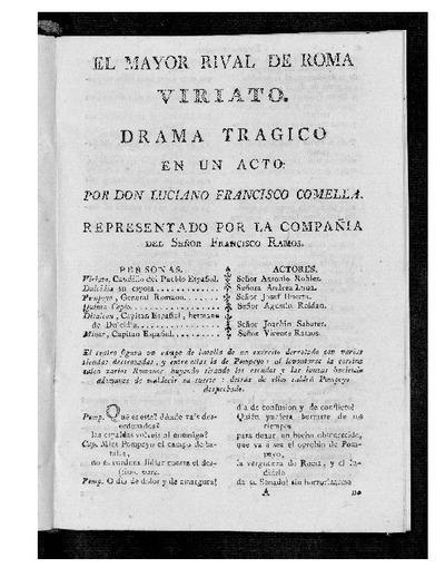El Mayor rival de Roma, Viriato : Drama trágico en un acto / Por D. Luciano Francisco Comella