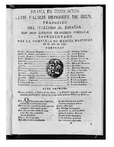 Los Falsos hombres de bien : Drama en cinco actos / Traducido del italiano al español por D. Luciano Francisco Comella