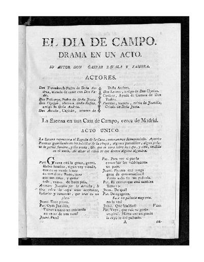 El Día de Campo : Drama en un acto / Su autor D. Gaspar Zavala y Zamora