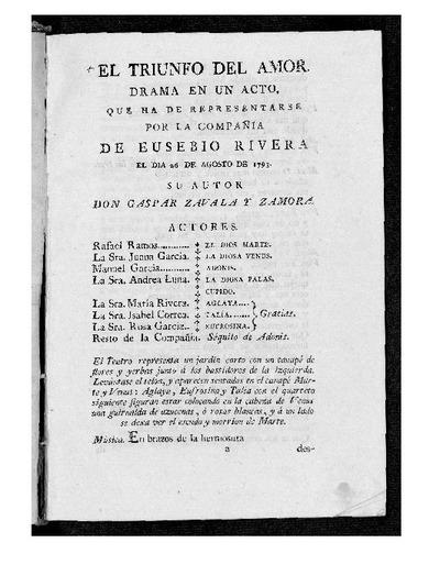 El Triunfo del Amor : Drama en un acto / Gaspar Zabala y Zamora