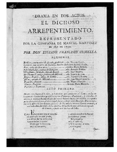 El Dichoso arrepentimiento : drama en dos actos / por Don Luciano Francisco Comella