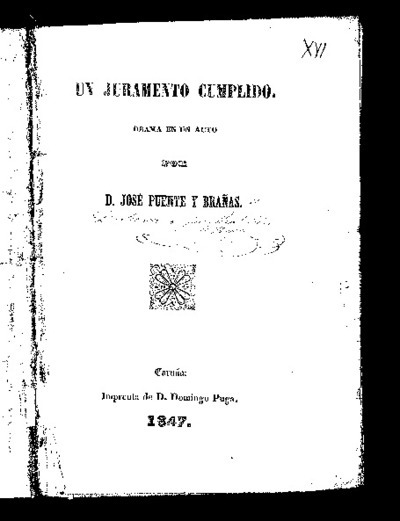 Un juramento cumplido : drama en un acto / por José Puente y Brañas
