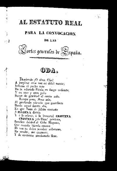 Al Estatuto Real para la convocación de las Cortes generales de España : oda