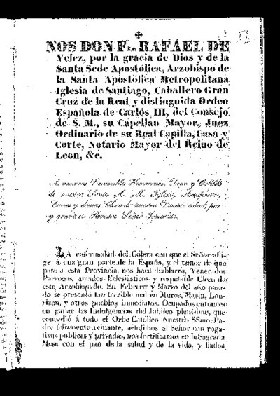 Carta pastoral del Arzobispo de Santiago de Compostela Fray Rafael de Vélez con motivo del cólera