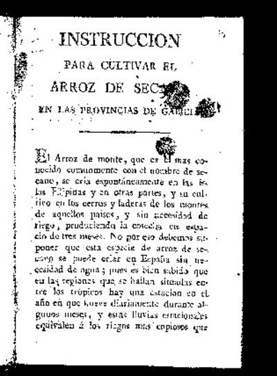Instrucción para cultivar el arroz de secano en las provincias de Galicia