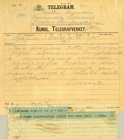 Telegram från Laurenti, La Spezia till kapten Magnusson på Hvalen när den är förankrad i Cartagena.
