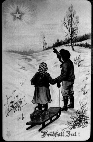Teckning. Motiv: vinterbild, en pojke och en flicka med kälke tittar på en stjärna på himlen. Texten på bilden: