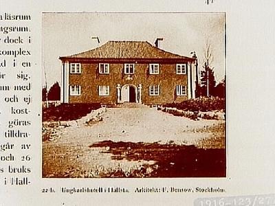 Ungkarlshotell i Hallsta. Arkitekt F. Bensow, Stockholm. Beställt av stadsarkitekt Edvin Stenfors, Järntorgsgatan 7, Örebro.