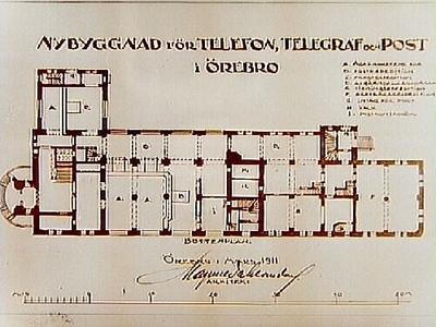 Ritning, nybyggnad för Telefon, Telegraf och Post i Örebro. Arkitekt Magnus Dahlander, Örebro.
