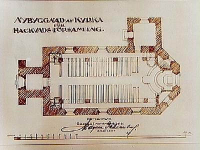 Ritning, nybyggnad av kyrka för Hackvads församling. Arkitekt Magnus Dahlander, Örebro.