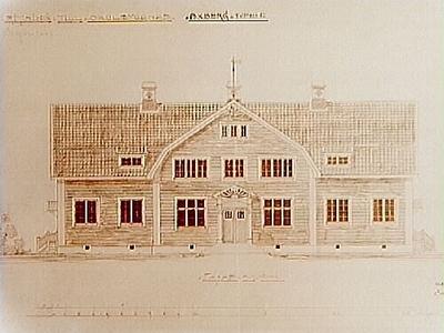 Ritning på skolbyggnad i Ölmbrotorp, Axbergs socken. Arkitekt Carl Nissen, Storgatan 23, Örebro