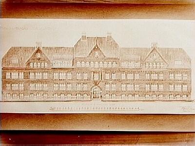 Ritning för Umeå stads folkskola. Arkitekt Carl Nissen, Drottninggatan 11, Örebro.