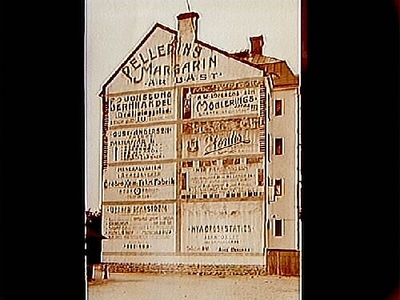 Reklam: målade husväggar, skyltar. Arkitekt Edvin Stenfors, Järntorgsgatan 7, Örebro.