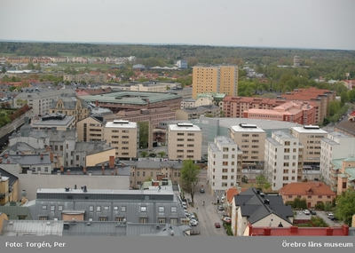 Bilder tagna under renoveringen av tornet på Nikolaikyrkan 2005. Utsikt från Nikolaikyrkans torn mot söder (syd-väst).