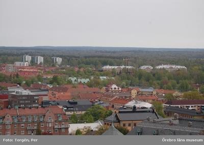 Bilder tagna under renoveringen av tornet på Nikolaikyrkan 2005. Utsikt från Nikolaikyrkans torn mot norr. (Länsarvet syns i bakgrunden).