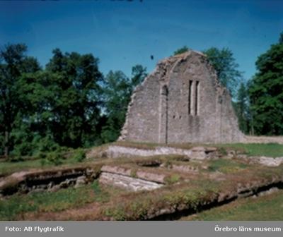 Fjugesta. Riseberga klosterruin. Bilden tagen för vykort. (Bok- & Pappershandel)