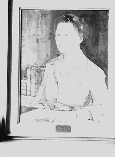 Nämndhuset, tavla (målning). Motiv: en kvinna. Porträtt av  Gerda Rydell, rektor 1946 - 1959.