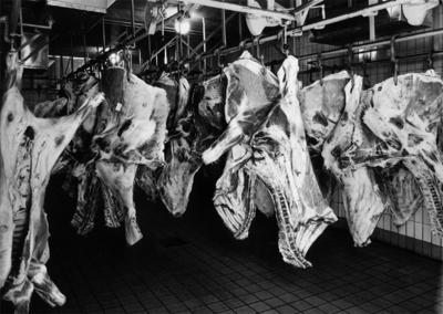 Konsum, charkuteriavdelningen, interiör av kylrummet med kött.