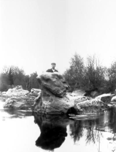 Stenansiktet som finns c:a 600 m uppströms om Händenestorp i Trevattna. Möjligen David Nätt bakom stenen.