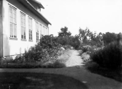 Mjäldrunga skola. Lärarinnan Helga Fredriksson anlade trädgården runt om och fick medalj för kunnighet i fruktodling.