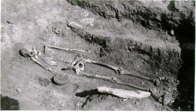 Nedergården.1500-årig skelettgrav, utgrävd 1/5 1942. Fynd: Urna, hästtand, bronssölja, hartstätning, bronssölja, hartstätning till träkärl samt kranium, på vilket synes ett par deformationer efter slag eller från trepanation.