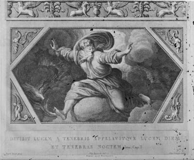 Skioptikonbild. Tryck med motiv av kristendomens och judendomens skapelseberättelse. Bilden visar dag 1 av skapelseberättelsen då Gud skiljer ljuset från mörkret, och Gud kallar ljuset för