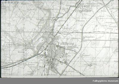 Karta över Falköping med omnejd. 1950-tal?