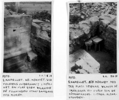 Södra kapellet nordöstra hörnet vid vulstens underkant i hörnet en flat sten vilande på fyllningen utan samband med muren. Södra kapellet sydöstra hörnet med tre flata stenar vilande på träribbor och i läge som de påträffades. I förgrunden altargrunden.