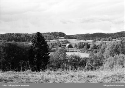 Vy över Tiarpssänkan med gården för Tiarpskragen från öster.