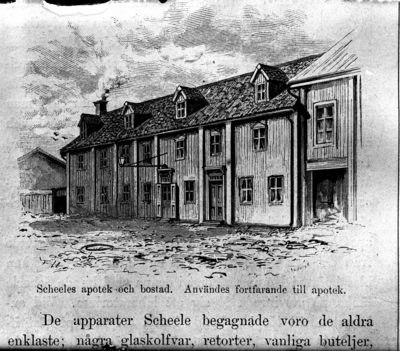Scheeles apotek och bostad. Reproduktion av KJ Österberg.