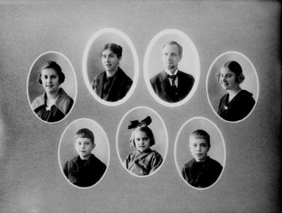 Personporträtt, 7 bröstbilder. Fotograf Sam Lindskogs familj. Sam, Hulda, Märta, Margit, Ingrid, Sven och Karl-Erik Lindskog.