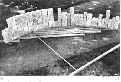 Triumfbågen uppställd. Den breda ribban betecknar bågsegmentets bas, den smala dess höjd.