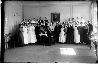 Hålahult sanatorium, interiör, gruppfoto samma motiv som bild nr. LTM-92-264-13 men med sämre kvalitet