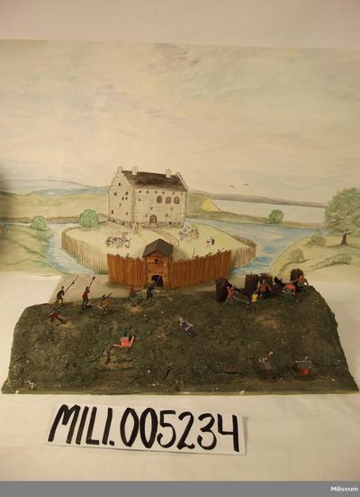 Diorama av rumlaborg 1400-talet