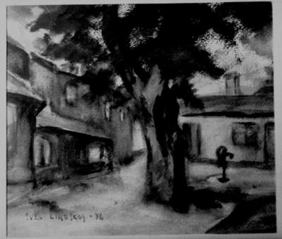 Akvarell. Konstnär: Sven Lindskog, 1946. Motiv: Kyrkogårdsgatan 45. Såld till Helge Gustafsson vid Nylander och Wellton, i februari 1950, för 125 kronor. Storlek: 23x26,5 cm.