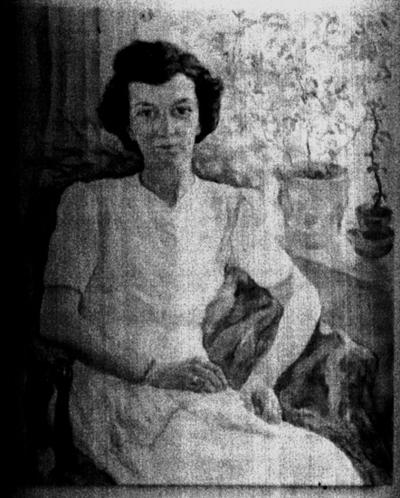 Oljemålning. Motiv: Doktorinnan Geffeken, porträtt. Konstnär: fru Lotte Larserstein.