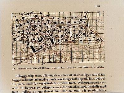 Plan till arbetarby vid Holmens Bruk. Arkitekt John Åkerlund, Stockholm. Beställt av stadsarkitekt Edvin Stenfors, Järntorgsgatan 7, Örebro.
