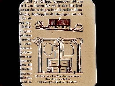 Egnahem på små tomter sammankopplade till ett dubbelhus. Arkitekt John Åkerlund, Stockholm. Beställt av stadsarkitekt Edvin Stenfors, Järntorgsgatan 7, Örebro.