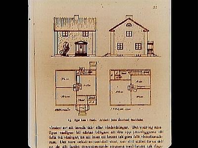 Ritningar på tvåvånings egnahem i Borås. Arkitekt John Åkerlund, Stockholm. Beställt av stadsarkitekt Edvin Stenfors, Järntorgsgatan 7, Örebro.