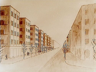 Örebro Stads Byggnadsnämnd, husritningar. Arkitekt Arn